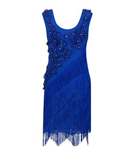 [Solatin Women's 20S Sequin Paisley Fringe Gatsby Flapper Midi Long Dress Blue 2XL] (Blue Flapper Dress)