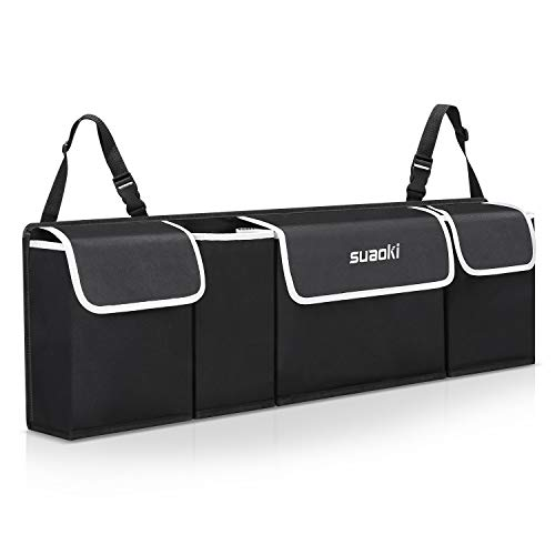 SUAOKI Backseat Car Trunk Organizer Foldable Cargo Storage Bag with Adjustable Strap, Durable Cover, Washable, Best for SUV, Vehicle, Auto, Minivan(Black)