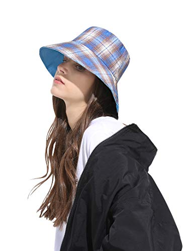 (DOCILA Fashion Plaid Bucket Hats for Women Men Outdoor Large Brimmed Weekend Fisherman Cap (BlueMulti))