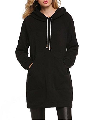 Qearl Women Autumn Loose Warm Pocket Pullover Hoodie Tunic Sweatshirt (L, Black) (Hood Dress)