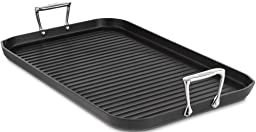 All-Clad 3013 Hard Anodized Aluminum Scratch Resistant Nonstick Anti-Warp Base Double Burner Grande 13-Inch by 20-Inch Grill Pan Specialty Cookware, 20-Inch, Black