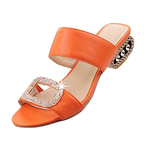 - Sharemen Women's Fashion Leisure Water Crystal Fish Mouth Sandals Slipper Shoes Orange