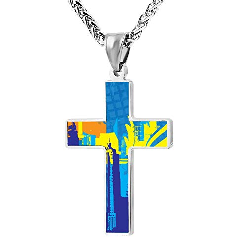Davis-HO City Shapes Key Cross Necklace Holder Chain Pendant Christian Jewelry Chokers with Zinc Alloy for Men -