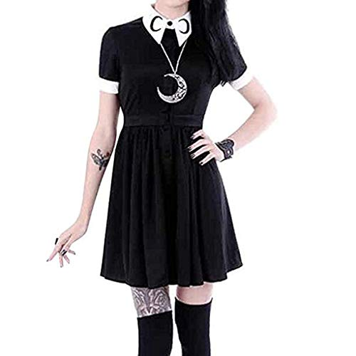 Women Moon Print Dress Gothic Punk Slim Fit Black Button Down Short Sleeve Mini Dresses