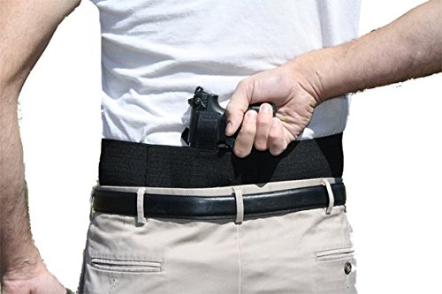 Belly Band Gun Holster Behind The Back Concealed Carry with Extra Magazine Pouches Small Black Left Hand