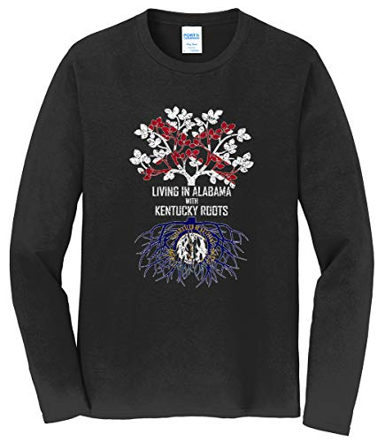 Tenacitee Men's Living in Alabama with Kentucky Roots Long Sleeve T-Shirt, 3X-Large, Black from Tenacitee