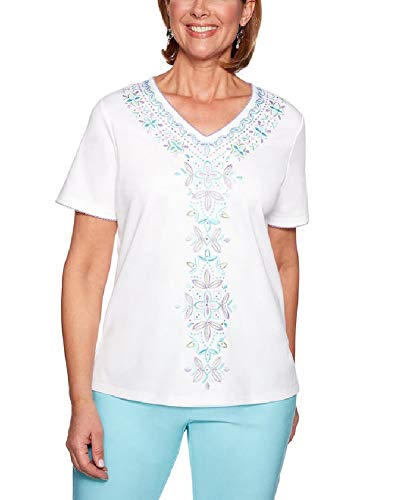 Alfred Dunner Womens Catalina Island Center Embroidery Top