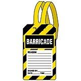 Plastic Barricade Self-Fastening Tags - 5-3/4''h x 3-3/8''w, Black / Yellow / White