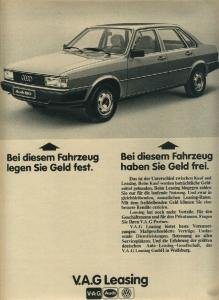 (1979 AUDI 80 LIMOUSINE NON-COLOR AD - V.A.G. LEASING - GERMANY - BUNTE)