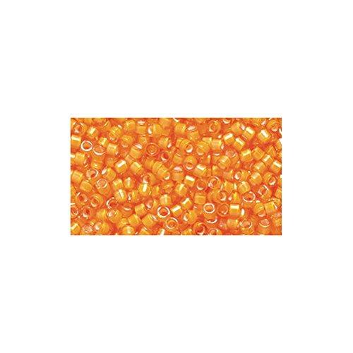 - Miyuki Delica Seed Bead 11/0 DB1777, White Lined Orange Aurora Borealis Finish, 9-Gram/Pack