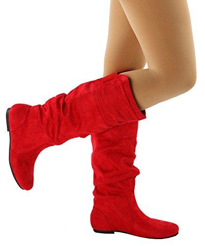 RF ROOM OF FASHION Frauen weiche Vegan Slouchy flach bis niedrige Ferse kniehohe Stiefel - mit versteckter Tasche - mittleres und breites Kalb Rotes Wildleder - Mittleres Kalb