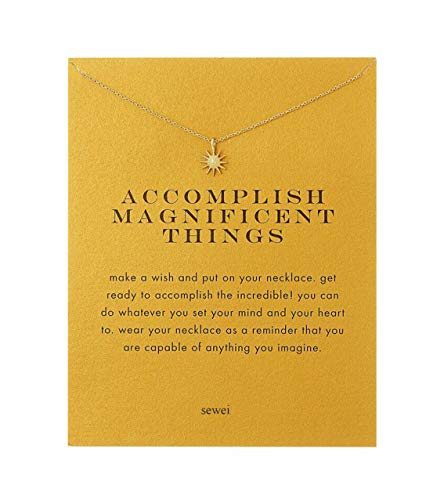 Gold Rings Wishbone (SEWEI Sun Necklace with Message Card(Gold starbust))