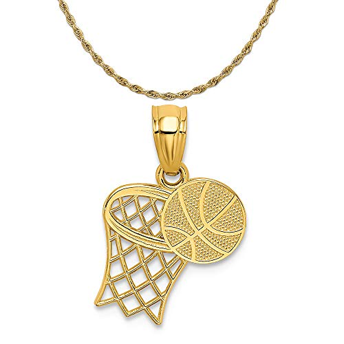 - Mireval 14k Yellow Gold Basketball and Hoop Pendant on a 14K Yellow Gold Rope Chain Necklace, 16