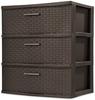 product image for STERILITE 3 Drawer Wide Weave Tower, Espresso - 1 Pack