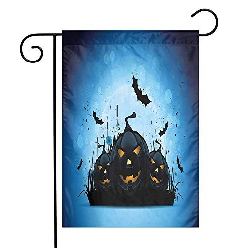 Mannwarehouse Halloween Garden Flag Scary Pumpkins in Grass with Bats Full Moon Traditional Composition Premium Material W12 x L18 Black Yellow Sky Blue ()