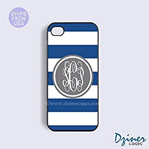 Monogrammed iPhone 4 4s Case - Blue White Stripes Grey Circle iPhone Cover