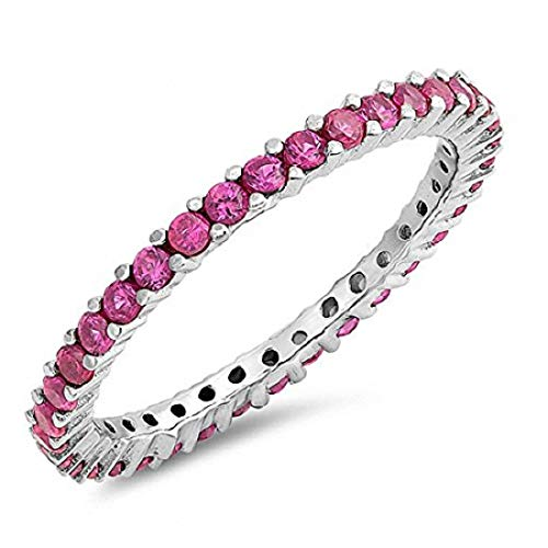 Blue Apple Co. Full Eternity Stackable Wedding Band Ring Simulated Ruby 925 Sterling Silver,Size-9