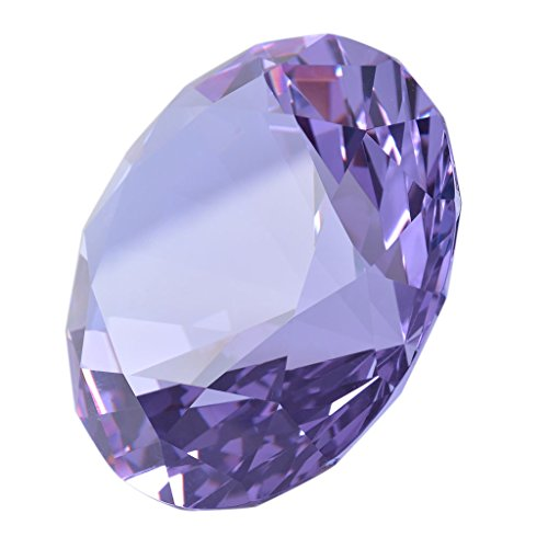 - LONGWIN 80mm(3.1 inch) Crystal Diamond Paperweight Jewels Wedding Decorations Centerpieces Home Decor (Purple)