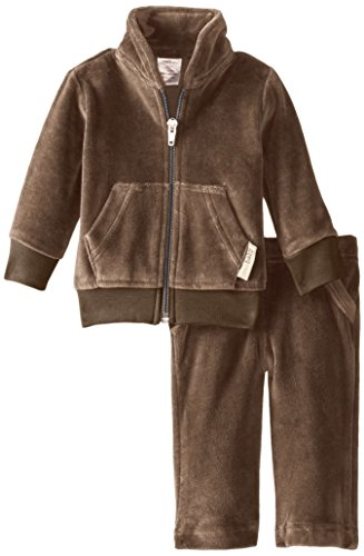 L'ovedbaby Unisex-Baby Newborn Organic Cotton Velour Track Suit, Bark, 3-6 Months - Flame Retardant Suit