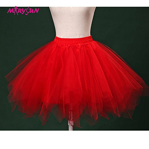 [Women Black 50s 80s costume Vintage petticoat bubble tulle party accessory tutu (Red,] (50s Costumes Women)