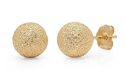 Glimmer Stardust 14K Yellow Gold Ball Studs Earrings 4MM-10MM (8MM) by JewelMore (Image #3)