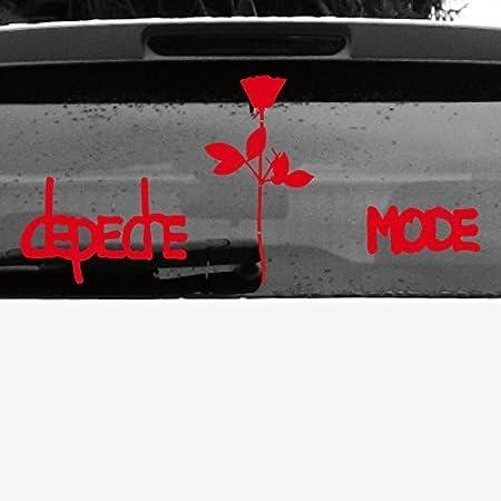 Greenit Set Exciter Schriftzug Und Rose Aufkleber Tattoo Die Cut Car Decal Auto Heck Deko Folie Depeche Mode Rot Invers Auto