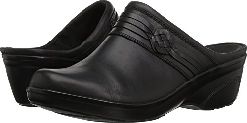 CLARKS Women's Marion Jess Clog, Black Leather, 070 W US