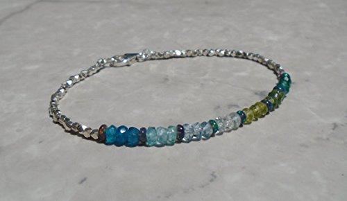 Aquamarine, Apatite, Peridot, and Onyx Bracelet, Ethiopian Opal, Dainty Beaded Bracelet, Karen Hill Silver Bracelet, Ombre Bracelet 3 ~ 3.5 mm
