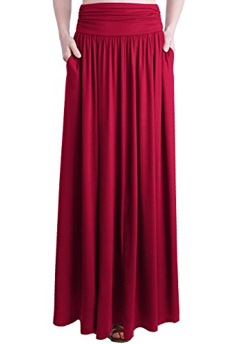 TRENDY UNITED Women's Rayon Spandex High Waist Shirring Maxi Skirt With Pockets (Red, X-Large)