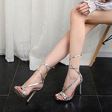 5 US8 PU Plata 7 5 EU37 Club Stiletto Sandalias 5 US6 UK6 UK4 5 Hebilla Vestir de Verano UE39 5 Plata Zapatos de CN40 CN37 Talón FYios 4qO070
