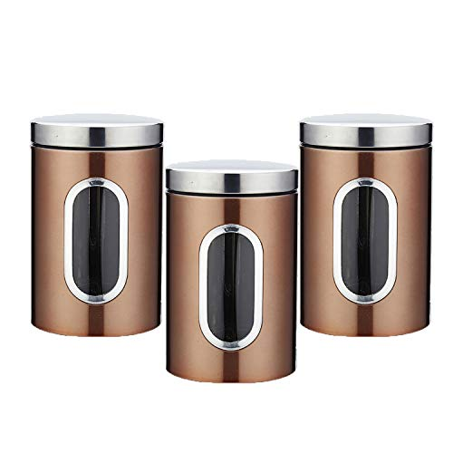 Stainless Steel 3PC Kitchen Canister Sugar Food Tea Coffee Candy Storage Containers with Transparent Windows (Brown)