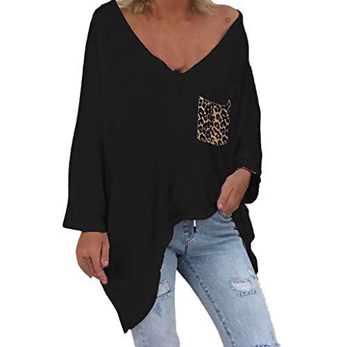 iLOOSKR Women Ladies Leopard Patchwork V-Neck Long Sleeve Pullover Tops Shirt Black