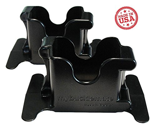 (MyBuckleMate Seat Belt Buckle Holders - Keep Floppy Back Seat Buckles Securely Propped Up for Easy Buckling, Black - (Set of 2))