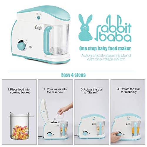 41MTP0IprRL rabbit baba Baby Food Maker, Fashion Look Baby Food Processor with Touch Screen Control, Quick Clean Multifunctional Baby Food Blender, Steamer, Cooker    ��SUPER SIMPLE TO USE】: By just ONE HAND to choose any mode easily by one step to create FRESH, HEALTHY, HOMEMADE baby food… Forget juggling multiple pots and pans which make you don't have to put your baby down , no matter you want to steam or chop food, just rotate the rotary switch, it done soon.��SAFETY & HEALTHY Baby Food Processor】: We focus on children's products for 20 YEARS and never compromise on safety issues�Besides this, the food processor has OVERHEATING PROTECTION and ANTI-DRY FUNCTION, keep your babies and family safe!��QUICK CLEANUP】: The steam tank of Rabbit baba baby food maker can be opened completely for easy cleaning. For any stubborn stains, the stirring cup is DISHWASHER SAFE. baby food processor chopper/grinder/mills/blender save you more time to spend them with your family.��STYLISH & MODERN DESIGN】: The compact and cute baby food maker chopper Grinder it stored easily and fit all decoration style kitchen.It is the best baby gift�