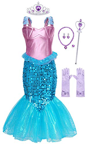 AmzBarley Mermaid Outfits Girls Ariel Princess Dress Up Costume Birthday Fancy Party Cosplay Sequins Clothes Holiday Halloween Role Play with Accessories Size 10 (8-9Years)