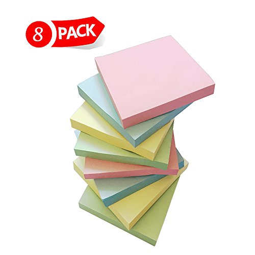 Sticky Notes Memo Pad (Sticky Notes, Sticky Memo, Convenience Stickers, Self-Stick Notes by Morkia, 3 x 3 Inches, 8 Pads/Pack, 100 Sheets/Pad, 4 Assorted Colors)