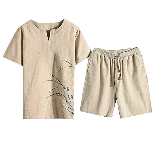 Men's Summer Cotton and Linen Short Sleeve Shorts Set Chinese Style Printing Suit Tracksuit by:iYBUIA Khaki