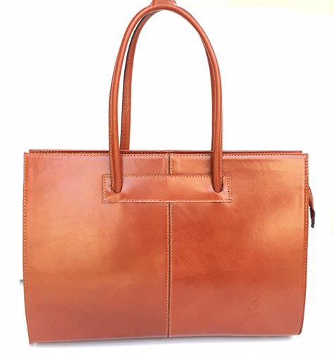 SUPERFLYBAGS Borsa Portadocumenti a spalla in Vera Pelle Tamponato modello UFF made in Italy cognac