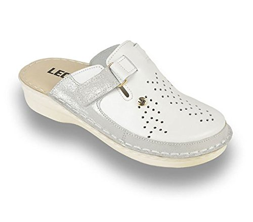 LEON V261 Komfortschuhe Lederschuhe Pantolette Clog Damen Weiß