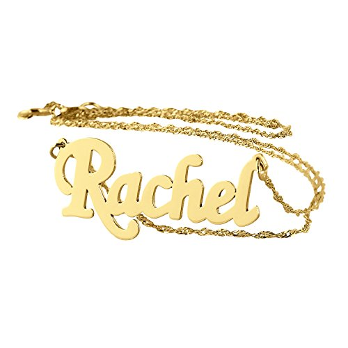 Soul Jewelry Personalized Choker Name Necklace 14k Gold Dainty Pendant Charm 1.25 inches. (14)