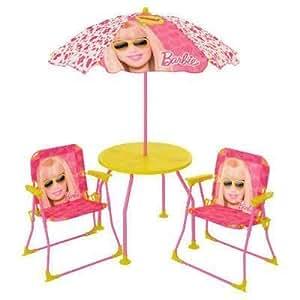 Nuevo y Sellado Barbie Patio 4pc el juego incluye 2sillas, mesa y sombrilla–Kid NO tamaño (muebles de casa de muñecas
