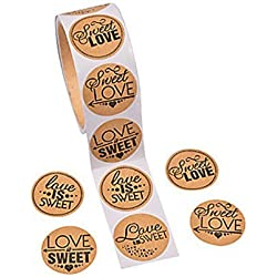 "1 Roll ~ Sweet Love Candy Buffet Stickers ~ 100 Paper 1.5"" Round Stickers Total ~ New / Shrink-wrapped"