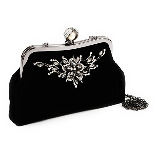 Womens Ladies Diamante Broche Satin Evening Bridal Wedding Prom Clutch Handbag Black