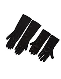 Utopiat Gloves, Long Black Satin Girls/Kids Size Two Sizes