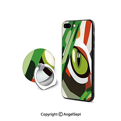 Case Compatible iPhone 8 & iPhone 7 (NOT Plus) with Ring Holder Kickstand,Wild Feline Cat Tiger Eye Behind Bushes Abstract Nature Dangerous PredatorArt Decorative,for Girls,Multicolor
