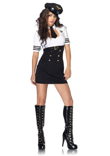 Leg Avenue Women's 2 Piece First Class Captain Pilot Costume, Black/White, Medium