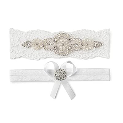 Wedding Bridal Garter Set White Ivory Champagne Lace Pearl Gift Beach Vintage