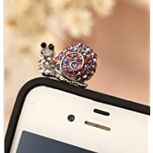 Big Mango Cute Crystal Rhinestone Snail Anti Dust Plug Stopper / Ear Cap / Cellphone Charms for Apple iPhone 5 5c 5s iPhone 4 4s ,iPad Mini iPad 2 ,iPod Touch 5 4,Samsung Galaxy S3 S4 Note3 Note 2,HTC and Other 3.5mm Earphone Jack Phones ( Purple )