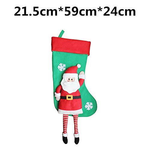 Mydufish Christmas Stocking Gift Bag Noel Snowman Reindeer Santa Claus Socks Natal Xmas ()