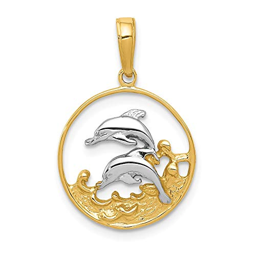 Jewelry Pendants & Charms Themed Charms 14K and Rhodium Double Dolphins in Circle Pendant ()